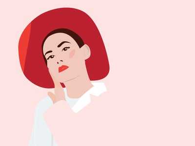 Girl in a Hat womensday red fashion character illustrator pink vector hat daily color girl illustration