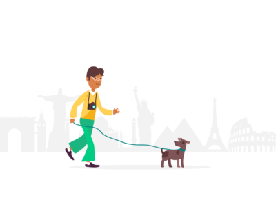 Let's go places london paris nyc traveler world colorful illustration character dog puppy traveling travel