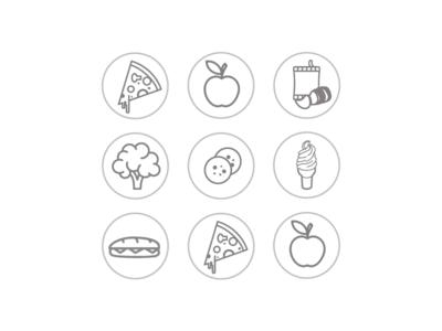 Food Icons icecream apple pizza food app uiux web illustrator vector icons icon illustration