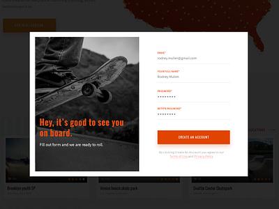 Registration Form skating skateboard skate web sign up signup create account modal registration input form