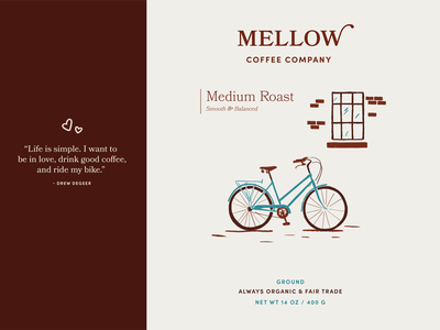 Mellow Coffee Company bookmania sofia branding concept brand identity bikes bicycle whimsical vintage coffee illustration branding