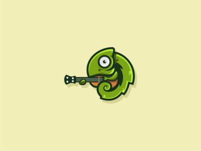 Chameleon vector chord guitar flat logo chameleon