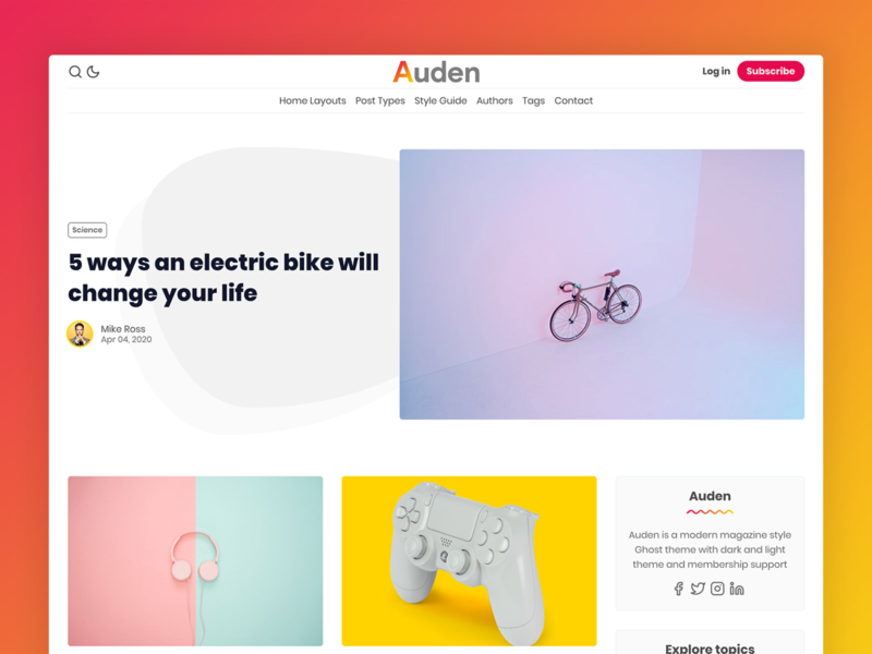 Auden - Ghost Theme premium minimal blog ghost-theme ghost clean