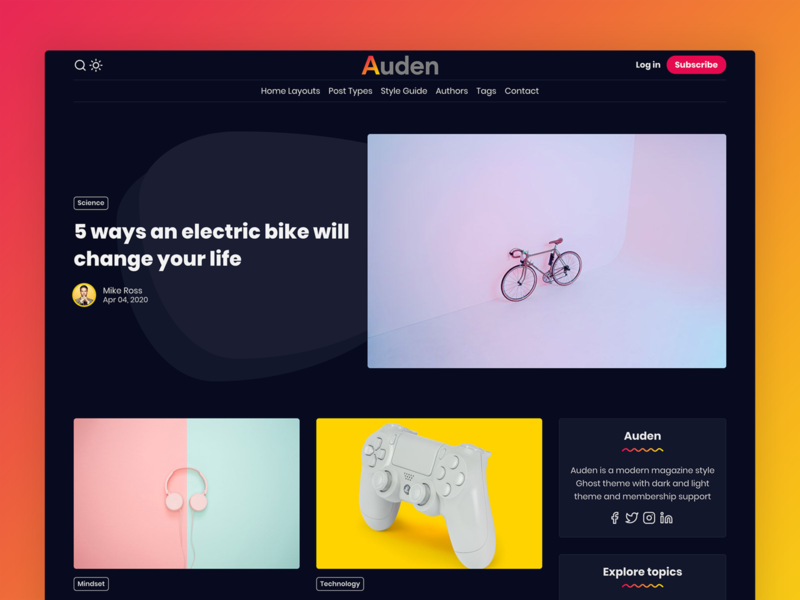 Auden - Ghost Theme (Dark Version) themes news magazine premium ghost-theme blog minimal ghost clean