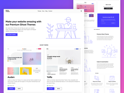 bironthemes.com redesing store design landing page branding ui design ghost-themes clean