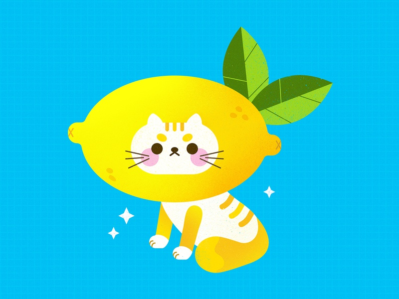 Sour Puss animal illustration cute lemonade graphic design simple bright texture colorful illustrator flat design illustration vector cat illustration cat vector cute cat pun fruit lemon cat