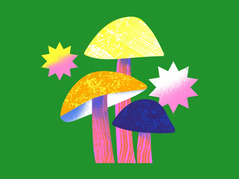 Boss Sweet Mushrooms icon vector graphic trippy scene plant organic flower illustration scenery illustration art mushrooms graphic design simple bright texture colorful flat illustrator design illustration vector