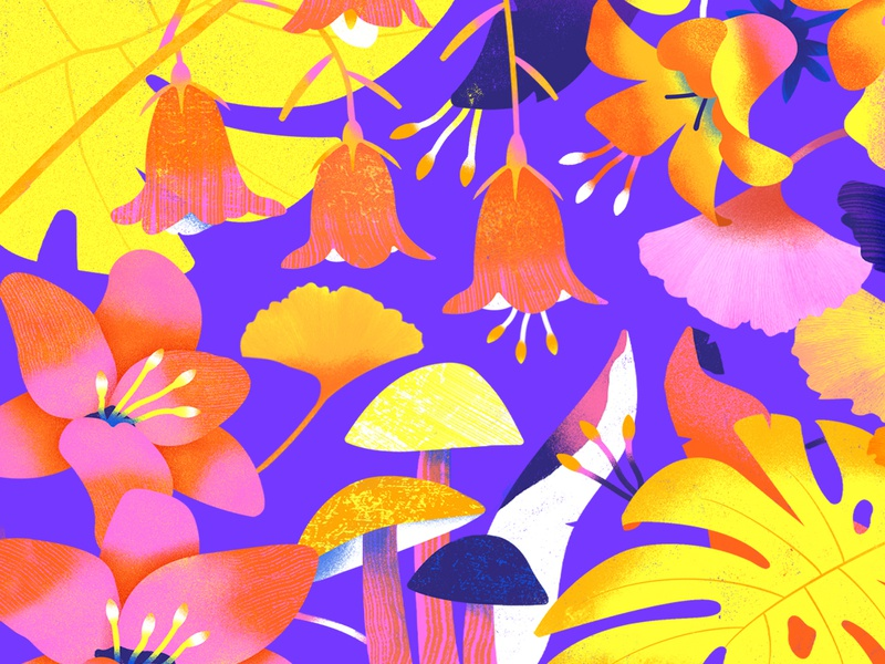 Boss Sweet Pattern Segment trippy scene plant organic flowers floral illustration scenery illustration art simple vector graphic graphic design graphic bright texture colorful illustrator flat design illustration vector