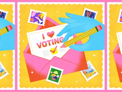 Voting Early cute vector graphic political graphic hands drawing hand drawing stamps graphic design simple bright texture colorful illustrator flat design illustration vector political ballot voting