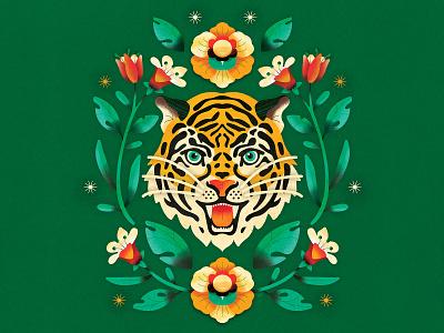 Jade Tiger detail illustrations plants leaves illustrator flat design concept graphic bright vector texture colorful animal floral design vector graphic graphic design illustration floral tiger