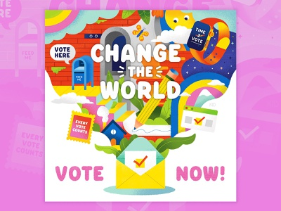 Change the World, Vote Now! voting vector graphic vector texture stamps simple political graphic pollitlca illustrator illustration collage graphic design flat drawing cute colorful bright ballot election 2020 vote now