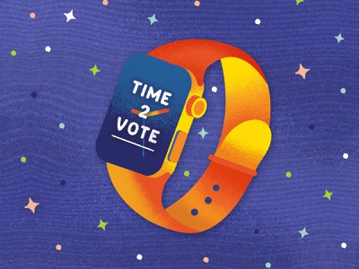 Time 2 Vote Apple Watch typography icon flatdesign voting vector graphic texture election simple political graphic political illustrator illustration graphic design flat drawing design cute colorful bright ballot