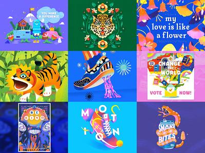Best 9 2020 fun happy top 9 pattern wild vibrant cute graphic design simple bright texture colorful illustrator flat design vector colors bestnine 2020 illustration