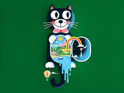 Kit Cat Clock texture print design graphic design illustrator flat design illustration vector concept colorful fun cute quirky lighthouse ocean windmill landscape clock cat clock kit cat clock