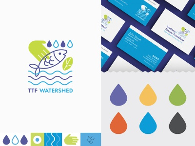 TTF Watershed Brand Identity cute logo brand identity logo design rebrand non profit logo brand refresh iconography icon business card branding and identity modern minimalistic bright vibrant print design illustrator colorful texture vector branding
