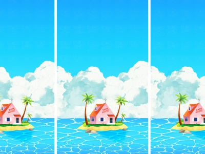 Kame House clouds animeart landscape seaside ocean scenery concept art graphic design bright texture colorful illustrator flat design illustration vector anime