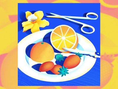 Still Here Still Life 48 basic minimalistic knife cute pattern graphic simple still life strawberry orange fruit graphic design bright texture colorful illustrator flat design illustration vector
