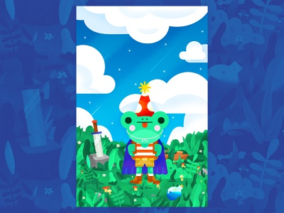 Frog Cadet texture colorful potion character graphic design illustration design vector simple graphic character design quest sword flower illustration floral exploring magic frog
