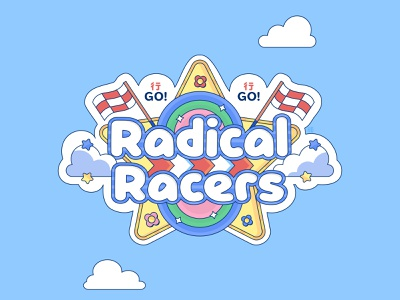 Radical Racers graphic design flat vector kawaii cute graphic bright colorful illustrator flat design illustration vector videogame brand cool graphic mariokart kart racer simple vector graphic logo design