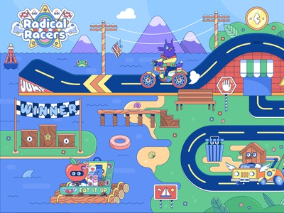 Radical Racers: Track One landscape character design kartracing minimalistic vector art kawaii bright line icon character graphic design illustration design vector simple graphic videogames creativity flat colorful