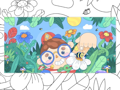 Bee Boi garden illustration graphic design whimsical design whimsical illustration person line icon vector design vector graphic cute colorful flat illustrator design vector illustration summer illustration flowers floral design landsacape design bee
