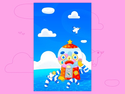 If I Am Only My Thoughts landscape water crying print design poster design cute character vector graphic vector design ocean seagull gumball machine character design cute texture colorful illustrator flat design illustration vector