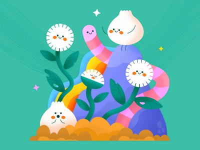 Draw This In Your Style – Studio Vonnie minimal simple scenery landscape worm graphic design textured cute floral flowers character design kawaii art draw this in your style texture colorful illustrator flat design illustration vector