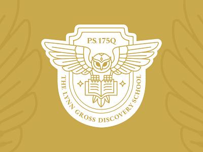 Lynn Gross Discovery Log owl mascot owl logo brand identity brand design branding graphic design vector illustration design flat illustrator crest logo logo badge minimalistic modern logo collegiate logo mascot mascot logo icon design school mascot