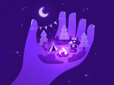 Peachtober 4: Hand forest bird moonlight texture colorful illustrator flat design illustration vector simple vector grapic hand hand illustration landscape night time character design camping tent monochromatic camping