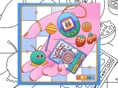 Peachtober 13: Treasure hand holding graphic design textures vintage 90s toys retro weepul lollipop erasers tamagotchi treasure hand illustration hand texture colorful illustrator flat design illustration vector