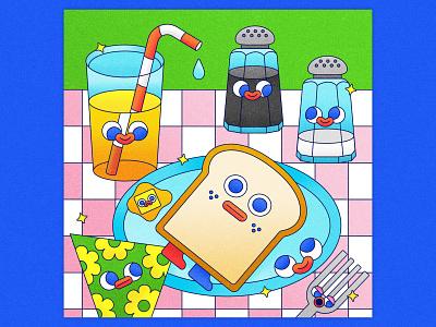 Peachtober 15: Toast silverware geometric shapes 2d graphic design vector graphic drawing art study toast orange juice breakfast still life texture colorful illustrator flat design illustration vector