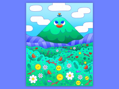 Peachtober 16: Summit hills mountains clouds cute 2d graphic design vector graphic floral flower field fields flowers landscape scenery mountain colorful illustrator flat design illustration vector