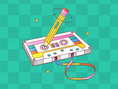 Peachtober 20: Sound music tape sound music cool cute icon vector design vector graphic cassette tape cassette pencil tape graphic design texture colorful illustrator flat design illustration vector