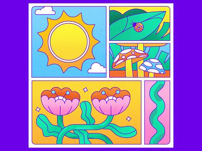 Peachtober 21: Sun mushroom vector design icon vector graphic graphic design texture colorful illustrator flat design illustration vector floral flowers ladybug nature outside landscape grass sun