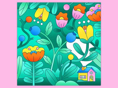 Peachtober 22: Harvest nature greenery plants leaves petals line vector vector graphic graphic design texture colorful illustrator flat design illustration vector garden house harvest forest flowers