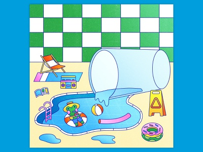 Peachtober 24: Water amphibian line vector vector graphic graphic design texture colorful illustrator flat design illustration vector cup glass pool tube swimming cute animal pool water frog