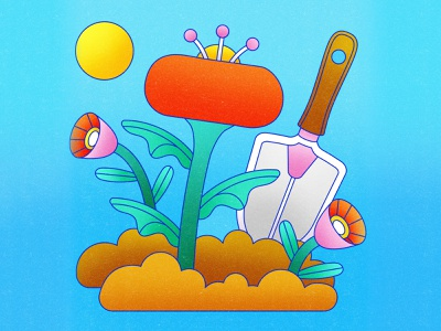 Peachtober 27: Spade sprout vector graphic line vector simple texture colorful illustrator flat design vector graphic design shovel digging spade illustration planting plants garden florals flower
