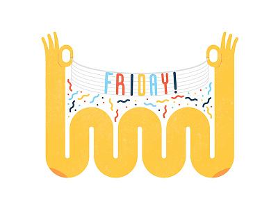 Fri-yay colorful illustrator design illustration sign confetti happy excitement banner celebration party vector hands flat illustartion curves arms celeration weekend friday