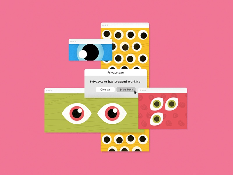 Privacy.exe illustrator vector ui concept graphic simple bright colorful texture looking eyes graphic design illustration design os mistake mac retro error computer