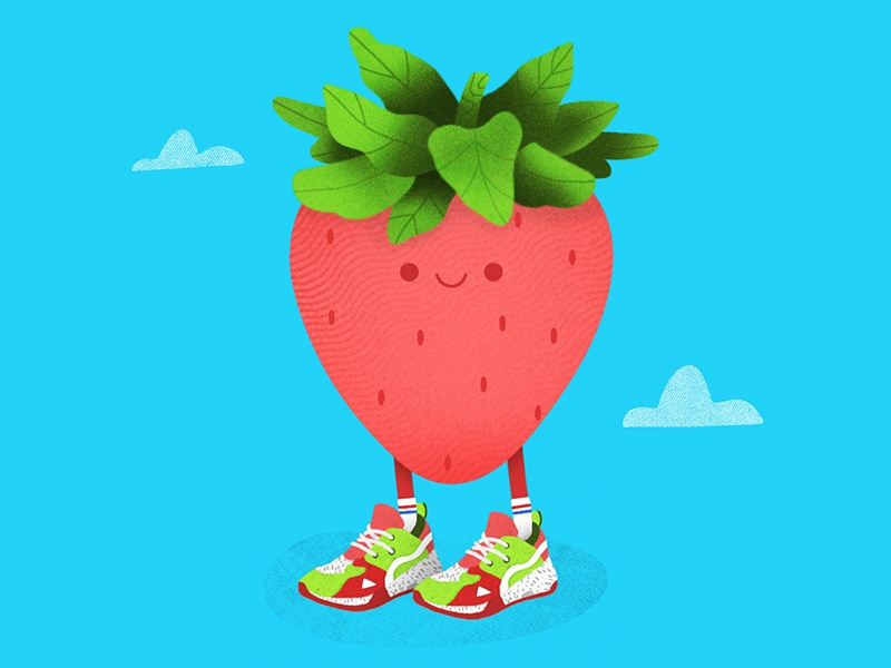 Summer Style graphic design vector texture simple photoshop clouds minimal illustration icon summer cartoon fruit strawberry flat drawing design cute color bright 2d