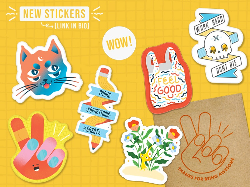 Sticker Store fun flat 2d visual product concept doodle create pencil skull cute color brand agency vinyl sticker branding promo promotional stickers