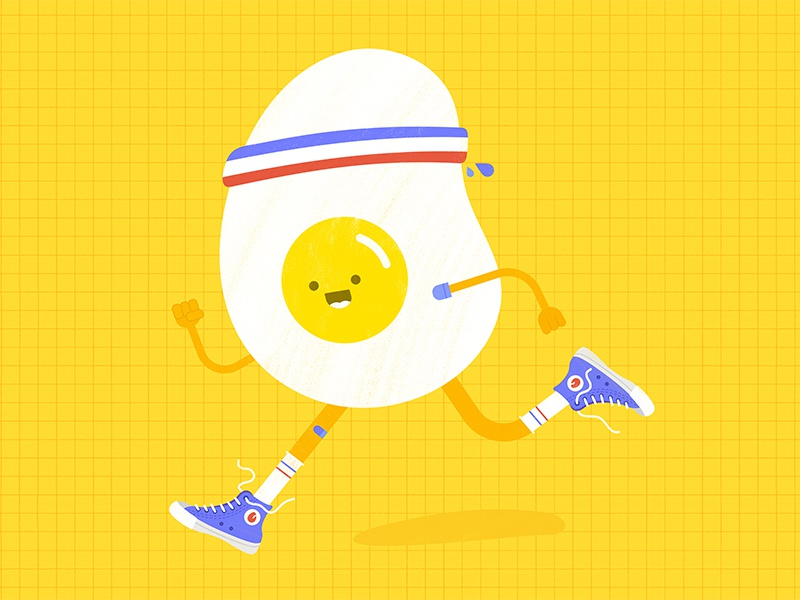 Runny Egg character design cartoon motion pattern bright design icon graphic design flat graphic vector colorful cute minimalism simple concept illustration illustrator running egg