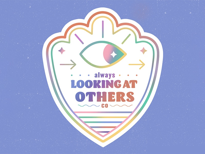 Always Looking at Others concept typography simple bright illustrator flat vector illustration club design graphic design drawing looking eye texture gradient colorful graphic icon badge