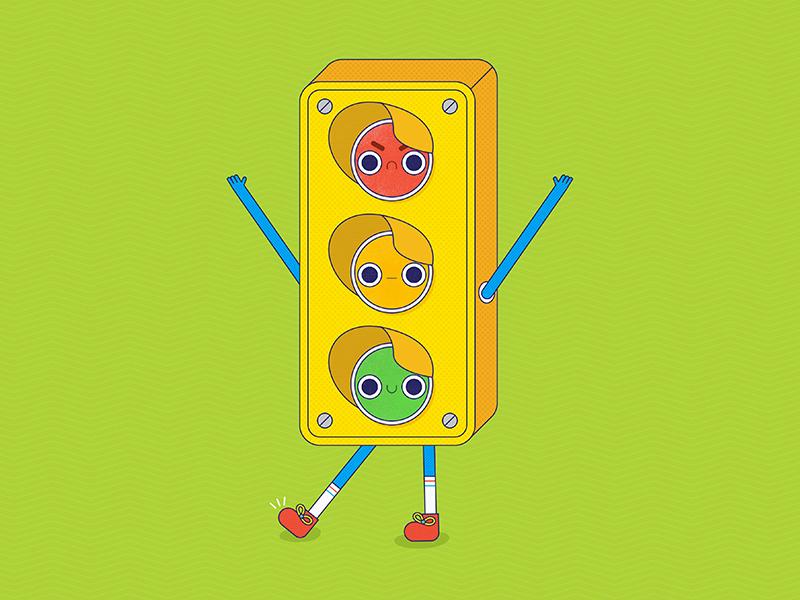Mixed Signals stoplight vector design drawing digital art simple bright texture illustrator flat illustration graphic design graphic design colorful character character design icon vector adobe illustrator 2d