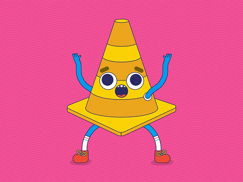 Crazy Cone bright texture colorful design illustrator icon simple cute traffic cone illustration vector graphic vector cartoon comic character concept 2d flat character design