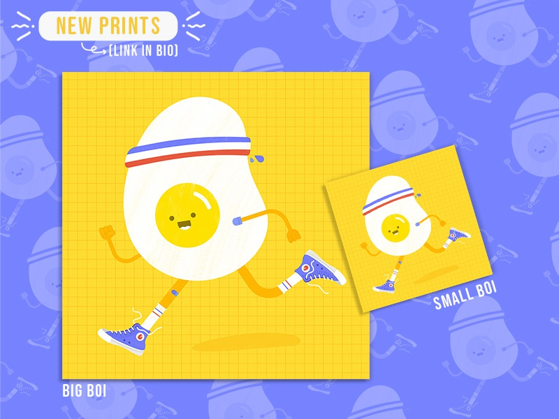 Runny Egg Print illustration visual etsy promotional promo character design running egg product fun flat doodle cute create concept color branding brand agency 2d