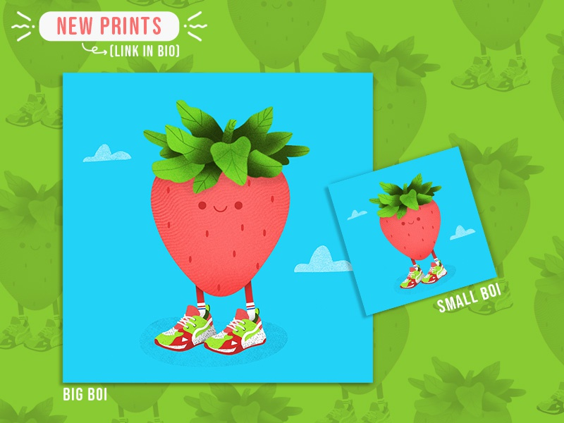 Strawberry Style Print design illustrator promotional promo character design shoes strawberry summer product fun flat doodle cute create concept color branding brand agency 2d