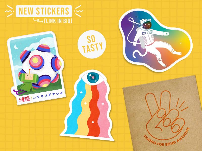 Sticker Store 2 space cat stickers promotional branding sticker vinyl agency brand color cute katamari damacy create doodle concept product visual 3d flat fun