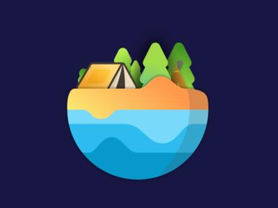 Camping vector planet illustration
