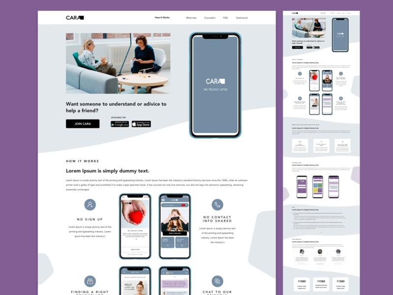 Landing page design for Psychiatrist app flat website ui minimal app design icon